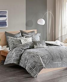 Urban Habitat Manhattan King/California King Reversible 7 Piece Printed Cotton Comforter Set