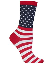 Hot Sox Women's American Flag Fashion Crew Socks