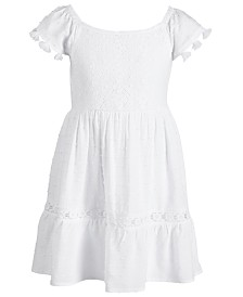 Epic Threads Little Girls Crochet Tassel-Trim Dress, Created for Macy's
