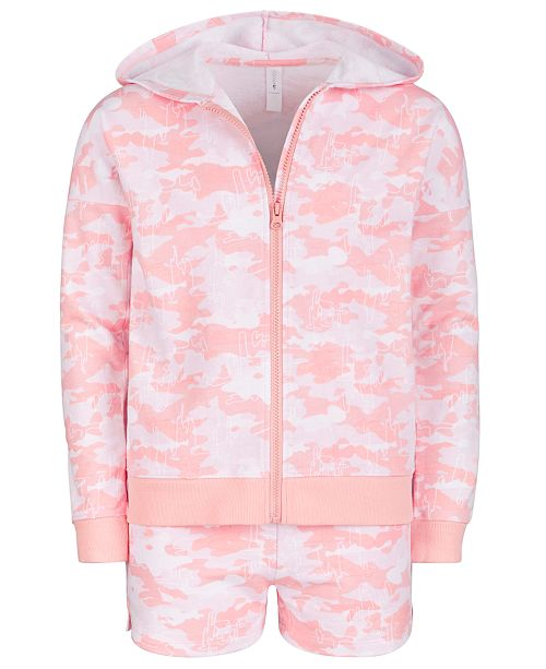 Ideology Big Girls French Terry Camouflage Hoodie & Shorts, Created for Macy's