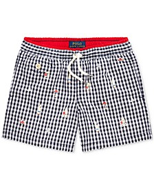 Toddler Boys Gingham Swim Trunks