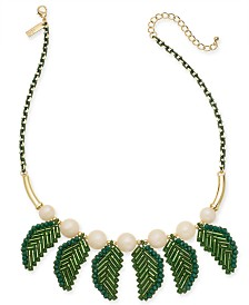 "I.N.C. Gold-Tone Bead & Leaf Statement Necklace, 18"" + 3"" extender"