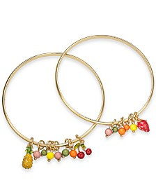I.N.C. Gold-Tone 2-Pc. Set Fruit & Shaky Bead Bangle Bracelets, Created for Macy's