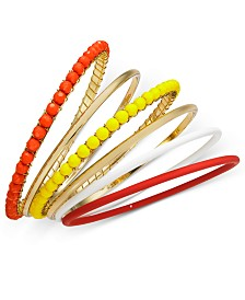 I.N.C. Tri-Tone 6-Pc. Set Multi-Bead Bangle Bracelets, Created for Macy's