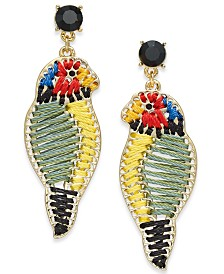 I.N.C. Gold-Tone Stitched Parrot Drop Earrings, Created for Macy's