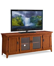 "Leick Home Canted Side Mission Oak 60"" Four Door TV Console"