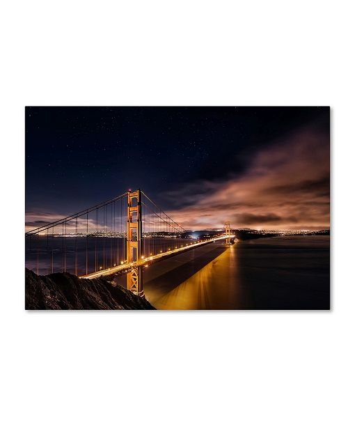 "Trademark Global Javier De La 'Golden Gate To Stars' Canvas Art - 32"" x 22"" x 2"""