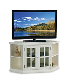 """Home White 46"""" Corner TV Stand with Bookcases"""