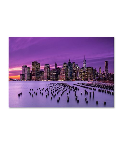 "Trademark Global Jg Damlow 'New York Violet Sunset' Canvas Art - 32"" x 22"" x 2"""