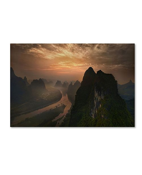 "Trademark Global Mieke Suharini 'Dawn At Li River' Canvas Art - 47"" x 30"" x 2"""
