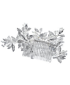 I.N.C. Silver-Tone Floral Crystal & Imitation Pearl Hair Comb, Created for Macy's