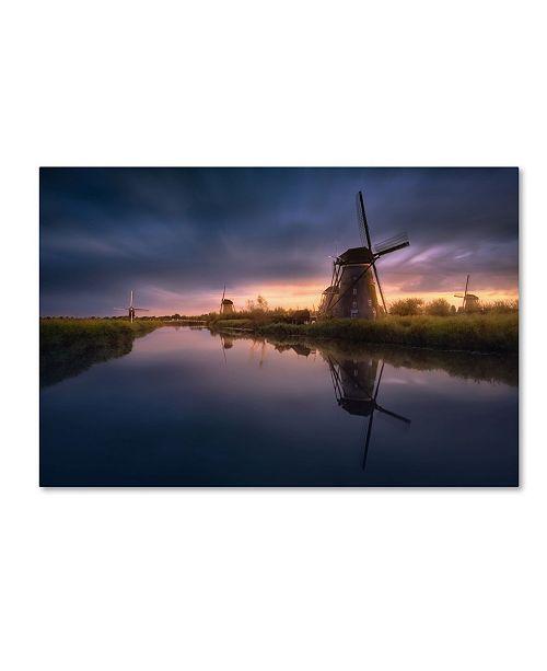 """Trademark Global Jesus M Garcia 'Kinderdijk Windmills' Canvas Art - 19"""" x 12"""" x 2"""""""