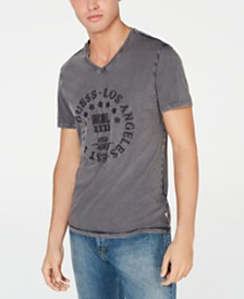 GUESS Men's Retro Stamp Embroidered Graphic V-Neck T-Shirt
