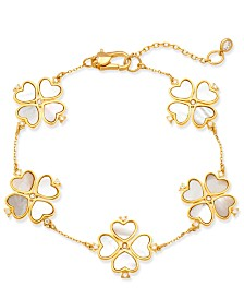 kate spade new york Gold-Tone Sterling Silver Pavé & Imitation Mother-of-Pearl Flower Bracelet