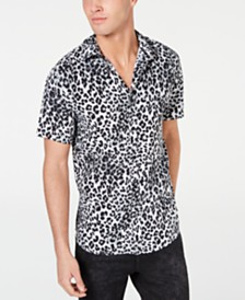 GUESS Men's Rogan Techno Leopard-Print Shirt