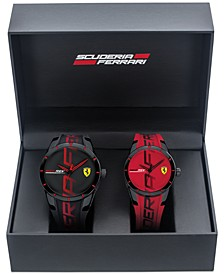 Men's RedRev Red & Black Rubber Strap Watch 44mm & 38mm Gift Set