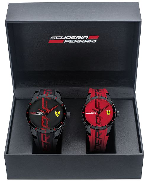 Ferrari Men's RedRev Red & Black Rubber Strap Watch 44mm & 38mm Gift Set