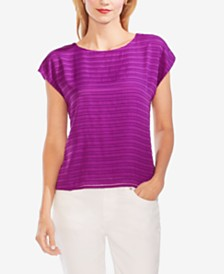 Vince Camuto Illusion-Stripe Cap-Sleeve Top