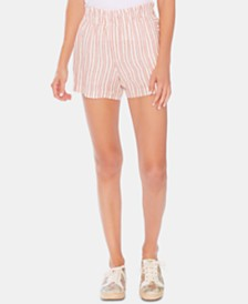 Vince Camuto Smocked-Waist Striped Linen Shorts