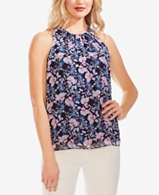 Vince Camuto Printed Gathered-Neck Top