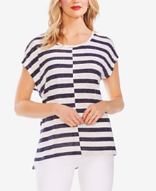 Vince Camuto Striped Dolman-Sleeve Top