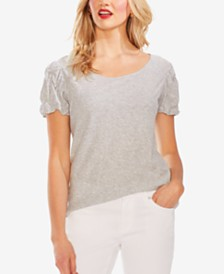 Vince Camuto Ruched-Sleeve T-Shirt