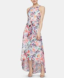Sleeveless Printed Halter Maxi Dress