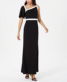 One-Shoulder Flutter-Sleeve Gown