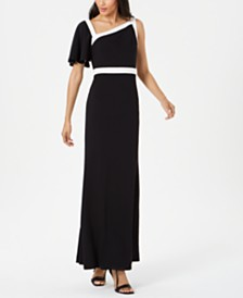 Calvin Klein One-Shoulder Flutter-Sleeve Gown