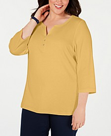 Plus Size Cotton Split-Neck Top, Created for Macy's