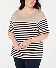 Plus Size Lisa Striped Cuffed-Sleeve Top, Created for Macy's