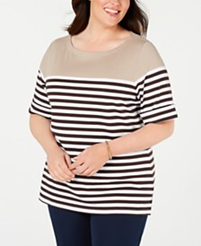 Karen Scott Plus Size Lisa Striped Cuffed-Sleeve Top, Created for Macy's
