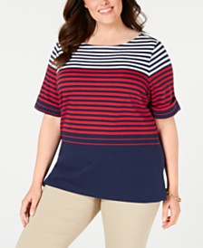 Karen Scott Plus Size Colorblocked Striped Top, Created for Macy's
