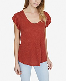 Ruby Solid Scoop-Neck Linen T-Shirt