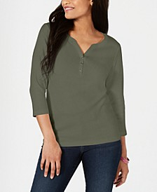Petite Cotton Henley Shirt, Created for Macy's