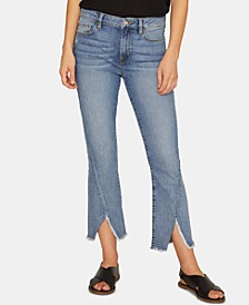 Connector Frayed-Hem Capri Jeans