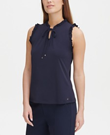 Tommy Hilfiger Ruffle-Trim Tie-Front Top