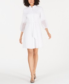 Alfani Crochet-Sleeve Shirtdress, Created for Macy's