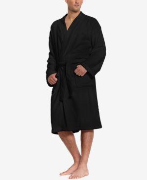 Men'S Sleepwear Soft Cotton Kimono Velour Robe in Polo Black