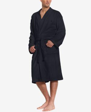 Men'S Sleepwear Soft Cotton Kimono Velour Robe in Navy