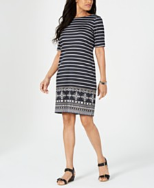 Karen Scott Medallion Striped Dress, Created for Macy's