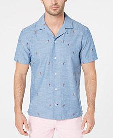 Tommy Hilfiger Men's Big & Tall Manu Custom-Fit Parrot-Print Camp Shirt