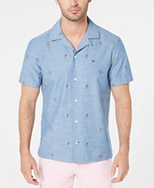Tommy Hilfiger Men's Manu Custom-Fit Parrot-Print Camp Collar Shirt