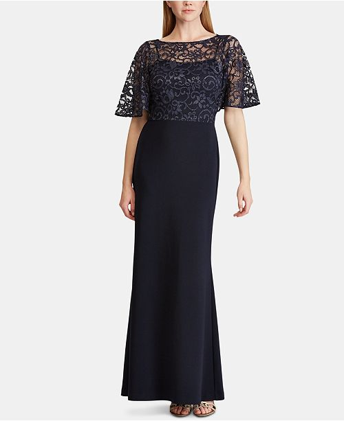 13f9c54a1d Lauren Ralph Lauren Lace-Overlay Jersey Gown   Reviews - Dresses ...
