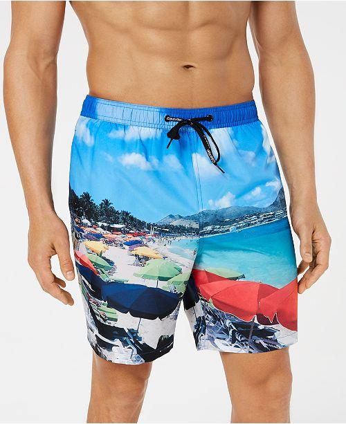 "Calvin Klein Men's St. Martin Photo-Print Quick-Dry 7"" Swim Trunks, Created for Macy's"