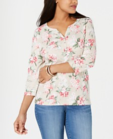 Karen Scott Petite Havana Falls Henley Shirt, Created for Macy's