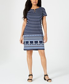Karen Scott Bahama Lace-Up Dress, Created for Macy's