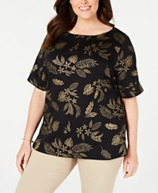 Karen Scott Plus Size Metallic-Print Cuffed-Sleeve Top, Created for Macy's