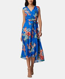 Tahari ASL Sleeveless Printed Faux-Wrap Dress