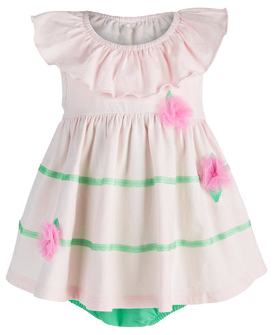 First Impressions Baby Girls Floral Appliqué Skirted Romper, Created for Macy's